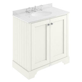 Bayswater Pointing White 800mm 2 Door Vanity Unit & 3TH White Marble Basin Top