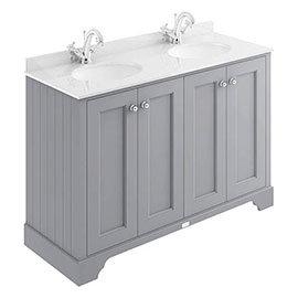 Bayswater Plummett Grey 1200mm 4 Door Vanity Unit & 1TH White Marble Double Bowl Basin Top