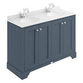 Bayswater Stiffkey Blue 1200mm 4 Door Vanity Unit & 1TH White Marble Double Bowl Basin Top