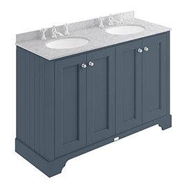 Bayswater Stiffkey Blue 1200mm 4 Door Vanity Unit & 3TH Grey Marble Double Bowl Basin Top