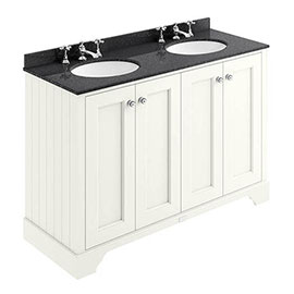 Bayswater Pointing White 1200mm 4 Door Vanity Unit & 3TH Black Marble Double Bowl Basin Top
