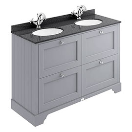 Bayswater Plummett Grey 1200mm 4 Drawer Vanity Unit & 1TH Black Marble Double Bowl Basin Top