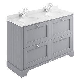 Bayswater Plummett Grey 1200mm 4 Drawer Vanity Unit & 1TH White Marble Double Bowl Basin Top