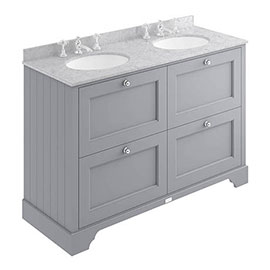 Bayswater Plummett Grey 1200mm 4 Drawer Vanity Unit & 3TH Grey Marble Double Bowl Basin Top