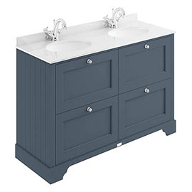Bayswater Stiffkey Blue 1200mm 4 Drawer Vanity Unit & 1TH White Marble Double Bowl Basin Top