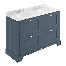 Bayswater Stiffkey Blue 1200mm 4 Drawer Vanity Unit & 3TH White Marble Double Bowl Basin Top