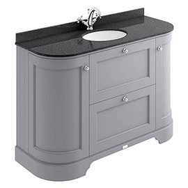 Bayswater Plummett Grey Curved 1200mm Vanity Unit & 1TH Black Marble Single Bowl Basin Top