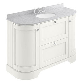 Bayswater Pointing White Curved 1200mm Vanity Unit & 3TH Grey Marble Single Bowl Basin Top