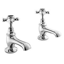 Bayswater Black Crosshead Traditional Basin Taps