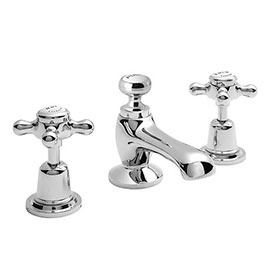 Bayswater White Crosshead Domed Collar 3 Tap Hole Deck Basin Mixer + Pop-Up Waste