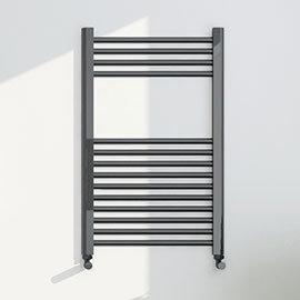 Brooklyn 800 x 500mm Black Nickel Straight Heated Towel Rail