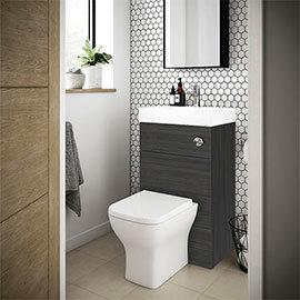 Brooklyn 500mm Hacienda Black 2-In-1 Combined Wash Basin & Toilet