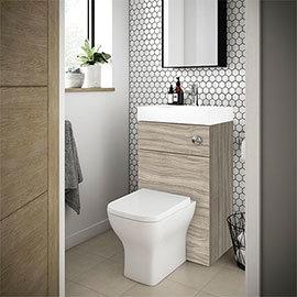 Brooklyn 500mm Driftwood 2-In-1 Combined Wash Basin & Toilet