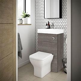 Brooklyn 500mm Grey Avola 2-In-1 Combined Wash Basin & Toilet