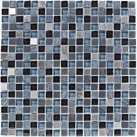 BCT Tiles Shades of Grey Stone/Glass Grey Mix Mosaic Tiles - 300 x 300mm - BCT38344