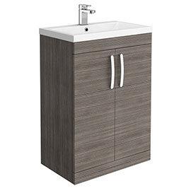 Brooklyn 600mm Grey Avola Vanity Unit - Floor Standing 2 Door Unit