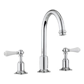 Crosswater - Belgravia Lever 3 Tap Hole Tall Basin Mixer with Pop-up Waste - BL135DPC_LV