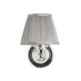 Burlington Round Light with Chrome Base and Chiffon Silver Shade - BL15