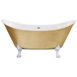 Heritage Lyddington Freestanding Acrylic Bath (1730 x 750mm) with Feet - Gold Effect