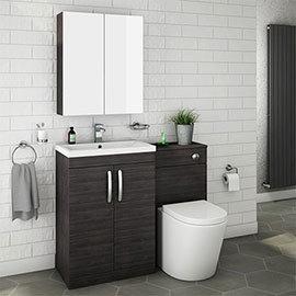 Brooklyn Black Modern Sink Vanity Unit + Toilet Package