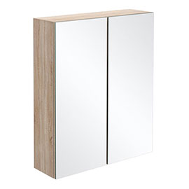 Brooklyn Natural Oak 600mm Bathroom Mirror Cabinet - 2 Door