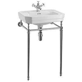 Burlington Victorian Medium Basin & Chrome Wash Stand - Various Tap Hole Options