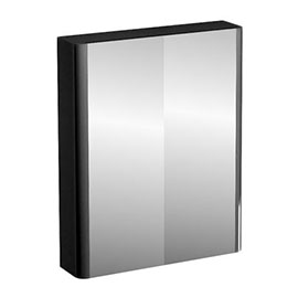 Britton Bathrooms - W600 x H750 Compact Double Mirrored Door Wall Cabinet - Black