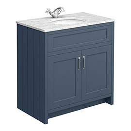 Chatsworth Blue 810mm Vanity with White Marble Basin Top