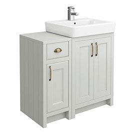 Chatsworth Traditional Grey 560mm Vanity Sink + 300mm Cupboard Unit