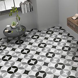 Caroline Black and White Wall and Floor Tiles - 200 x 200mm