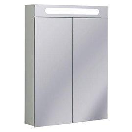 Crosswater - 600mm Illuminated Aluminium Mirrored Cabinet with Shaving Socket - CB6080AL+2