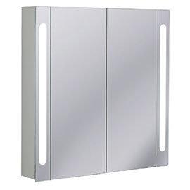 Crosswater - 800mm Illuminated Aluminium Mirrored Cabinet with Shaving Socket - CB8080AL