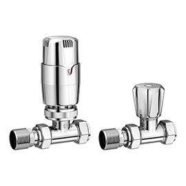 Apollo Modern Chrome Straight Thermostatic Radiator Valves