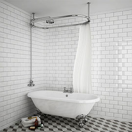 Chatsworth 1500 x 700mm Oval Shower Curtain Rail with 200mm Rose + Exposed Shower Valve