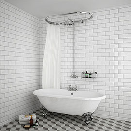 Chatsworth 1200 x 630mm Oval Shower Curtain Rail with 200mm Rose + Exposed Shower Valve