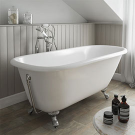 Wandsworth 1680 x 770mm Single Ended Roll Top Cast Iron Bath + Chrome Feet