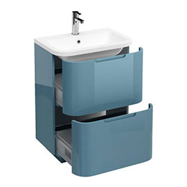 Aqua Cabinets Compact 600mm Two Drawer Vanity Unit with Quattrocast Basin - Ocean