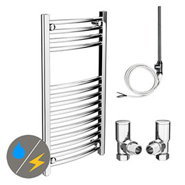 Diamond 400 x 800mm Curved Heated Towel Rail (Inc. Valves + Electric Heating Kit)