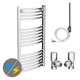 Diamond 500 x 1000mm Curved Heated Towel Rail (inc. Valves + Electric Heating Kit)