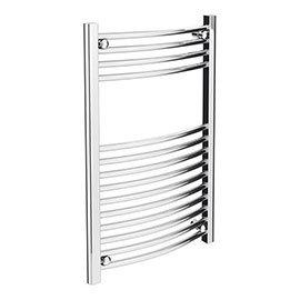 Diamond Curved Heated Towel Rail - W500 x H800mm - Chrome
