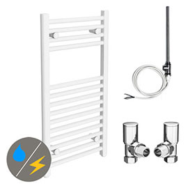 Diamond White 400 x 800mm Straight Heated Towel Rail (Inc. Valves + Electric Heating Kit)