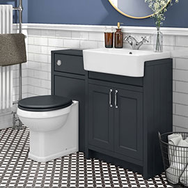 Chatsworth Traditional Graphite Semi-Recessed Vanity Unit + Toilet Package