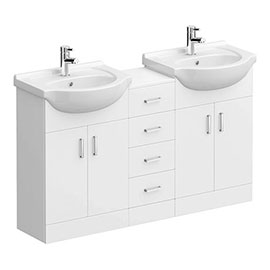 Cove White Gloss Double Basin Vanity + Drawer Combination Unit