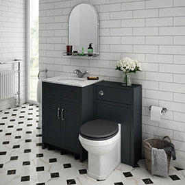 Chatsworth White Marble Traditional Graphite Vanity Unit + Toilet Package