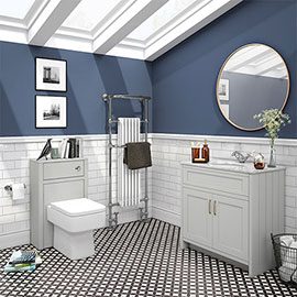 Chatsworth White Marble 810mm Traditional Grey Vanity Unit + Toilet Package