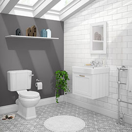 Chatsworth White Cloakroom Suite (Wall Hung Vanity Unit + Close Coupled Toilet)