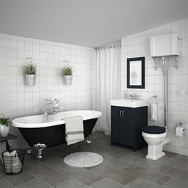 Chatsworth High Level Graphite Roll Top Bathroom Suite inc. Black Bath