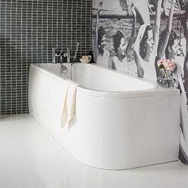 Cleargreen Viride Offset 170cm x 75cm Single Ended Bath + Panel