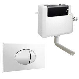 Cruze Dual Flush Concealed WC Cistern + Large Chrome Push Button Plate