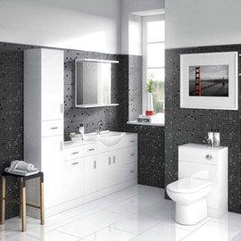 Cove 6 Piece Vanity Unit Bathroom Suite (High Gloss White - Depth 300mm)